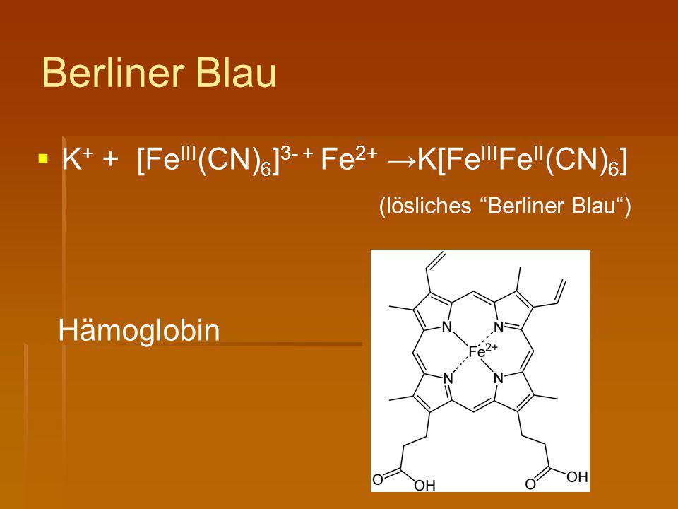 Berliner Blau K+ + [FeIII(CN)6]3- + Fe2+ →K[FeIIIFeII(CN)6]